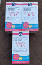 3 Bottles Nordic Naturals Prenatal DHA 90 Ct Each Bottle 270 Tot Exp. 03/20...K2