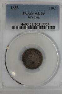 1853  .10  PCGS  AU53 ARROWS   Liberty Seated Dime, 10C, ,