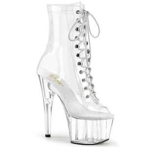 """PLEASER ADORE-1021C 7"""" Heel Platform Peep Toe Lace Up Women's Clear Ankle Boots"""