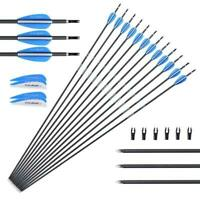 """US 12pcs 28"""" Spine1000 Archery Carbon Arrows Target For Compound bow Hunting"""