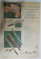 """Parker Pens and Pencils Ad: The New Parker """"51"""" from 1950 Size: 11 x 15 inches"""