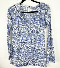 The Balance Collection by Marika Womens Medium Floral Pullover Top Hoodie Blue