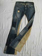 REPLAY Donna Blue Jeans colpo Patchwork w27/l34 X-LOW WAIST Slim Fit Flare Leg
