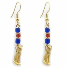 Cat Amulet with Blue Ceramic Bead Earrings - Museum Store Collection