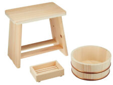 Hinoki Cypress Onsen Bath Set [Wood Stool Chair, Sope Box & OKE Wooden Tub]
