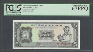 Paraguay 5 Guaranies L.1952 P195b Uncirculated Graded 67