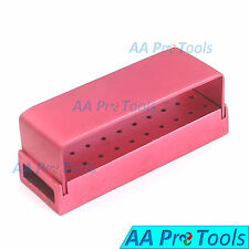 AA Pro: 30 Holes Dental Aluminum Bur Burs Holder Box Autoclave Pink ColorDN-2087