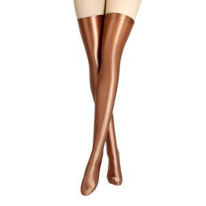 Sexy Women's Glossy Stocking Lycra Spandex Stretch Shiny Opaque Thigh High Sock