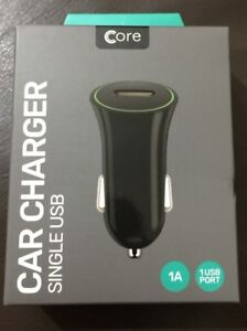 Core SINGLE USB In-Car Charger - Black RoHS and CE Approved UK