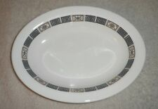 Wedgwood Asia Oval 10 INCH Vegetable Serving Bowl  Black & Gold White trim R4288