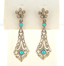 Beautiful 14K White Gold Hand-Made Antique Design Turquoise Dangling  Earrings