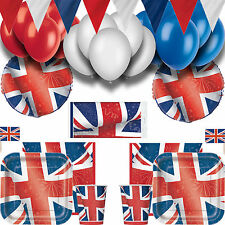 JUBILEE STREET PARTY KIT Plates Cups Bunting Balloons Tablecloth Napkins Picks