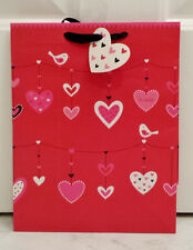 Medium Pink White Red Black Glitter Heart Gift Bag With Ribbon Handles