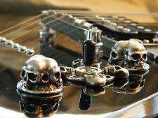 3 SKULL GUITAR KNOBS - HAND MADE SOLID METAL SPEED KNOBS 3 SKULLS PER KNOB