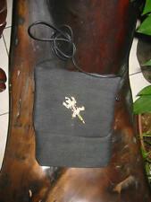 Black with Bone Lizard Passport Bag