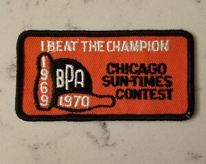 Illinois State BPA I Beat the Champion Patch 1969 1970 Chicago Sun Times Bowling