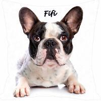 coussin carré  chien bouledogue français personnalisé prénom au choix réf 188