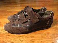 $550 Bally Made Switzerland Men's 8.5 D Brown Leather Velcro Sneakers Shoes