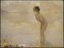 Paul Chabas, September Morn, Beautiful nude girl, antique decor, 20x16 Art Print