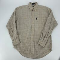 Chaps Ralph Lauren Dress Shirt Mens Size Medium Tan Check Plaid Long Sleeve