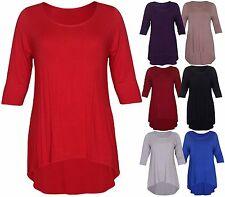 Womens New 3/4 Sleeve Ladies Fishtail Stretch Fit Dip Hem T-Shirt Top Plus Size
