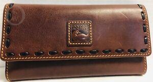 NWT*Dooney & Bourke*CHESTNUT* Florentine Leather CHECKBOOK Clutch WALLET #18321W