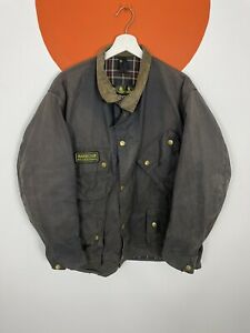 Barbour International A7 Waxed Cotton Jacket Khaki Green Vintage c45/ 117cm