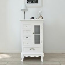 Chic White Cabinet with 5 Drawers 2 Shelves Table Sideboard Storage Pinewood+MDF