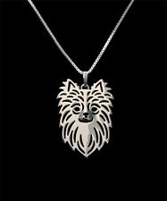 Long Hair Chihuahua Dog Canine Collection Silver Tone Metal Pendant Necklace