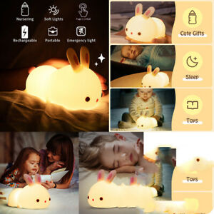 Kids Lamp Night Light Bedside Desk Touch Lampshade Bunny Cow Bed Side Lamp 2021