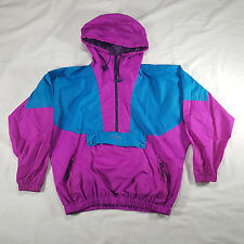 Columbia Womens Teal Purple 1/2 zip Pullover Windbreaker Jacket LARGE hooded VTG