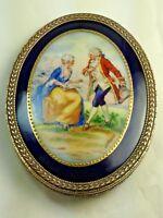 Antique Czech Miniature Love Scene Portrait Framed Gilt Brass Signed Debrun