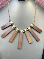 """Vintage Bohemian Dark Wood Wood Beaded Statement And Brass Accented Boho  16"""""""