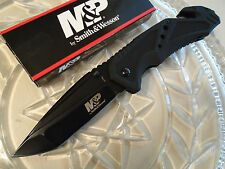 Smith & Wesson Military Police All Black Rescue Tanto Pocket Knife SWMP11B 7Cr17