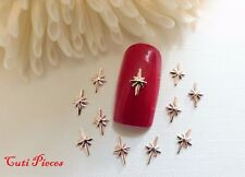 20pc Nail Art Rose Gold Christmas Stars Small 3D Metal Spangle Xmas Manicure Tip