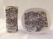 Bavaria Jaeger & Co. Vase and Porzella Plate - Souvenir of Heidelberg Germany