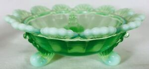 Berry Bowl - 3 Footed Klondyke Pattern - Green Opalescent Glass - Mosser USA
