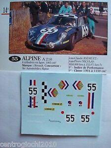 1/43 DECALS CAR ALPINE A210 LE MANS 1968 n. 55 DRIVERS ANDRUET-NICOLAS