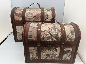 Shabby Chic Retro Wooden Nesting Chest Boxes with Cartographic Design #SH