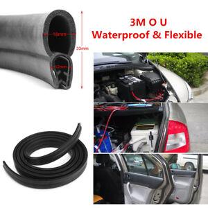 3M O U Channel Black Rubber Seal Weatherstrip For Car Door Engine Window Frame