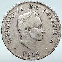 1912 COLUMBIA Simon Bolivar Eagle Shield ANTIQUE Silver 50 Centavos Coin i89677