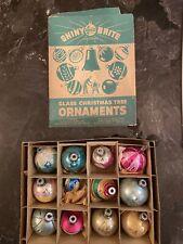 Vtg 12 Shiny Brite Tornado Tree Mercury Glass & Other Stenciled Ornaments W/Box
