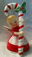 Vintage 1956 Napco Japan Christmas Angel w Candy Cane & Holly Bell Figurine