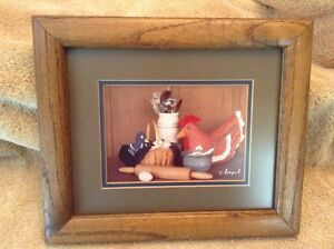 Country  Kitchen Gingham Hen Framed Picture Signed By Korczynski