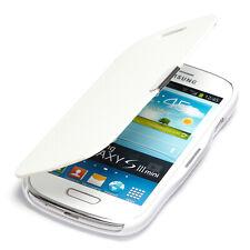 Samsung Galaxy S3 Mini Hülle Tasche Flip Case Schutz Etui Wallet Book Cover wei