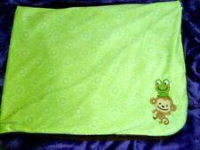 "JUST ONE YOU monkey frog GREEN circles mandela brown sherpa blanket - 30X40"""
