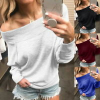Fashion Women's Long Sleeve Off Shoulder T-Shirt Winter Ladies Casual Loose Tops