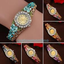 Women's Charismatic Flower Rhinestone Cuff Bangle Bracelet Quartz Wrist Watch