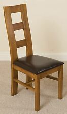 Yale Solid Oak Rustic Wood & Brown Leather Dining Chair Kitchen Furniture