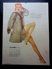 """Vintage December 1948 sexy risque pin-up calendar page by Vargas  8.5"""" x 12"""""""
